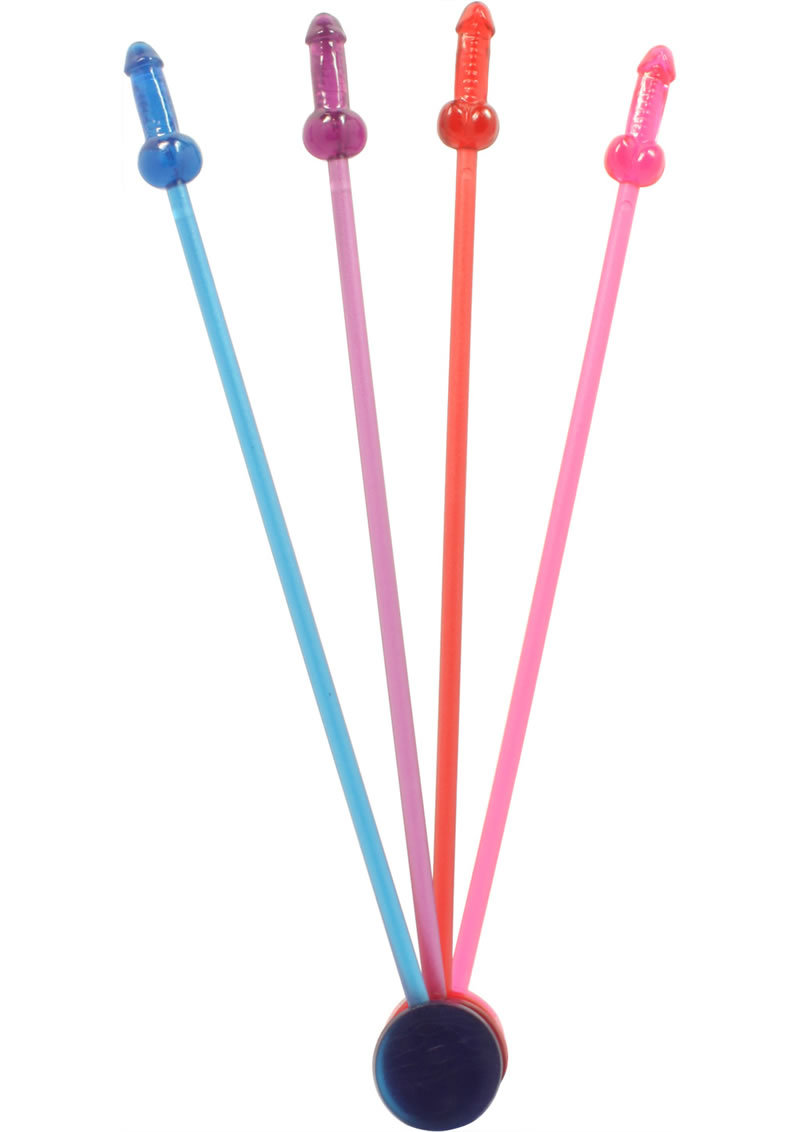 Naughty Cocktail Stirrers (16 Per Pack Assorted Colors)