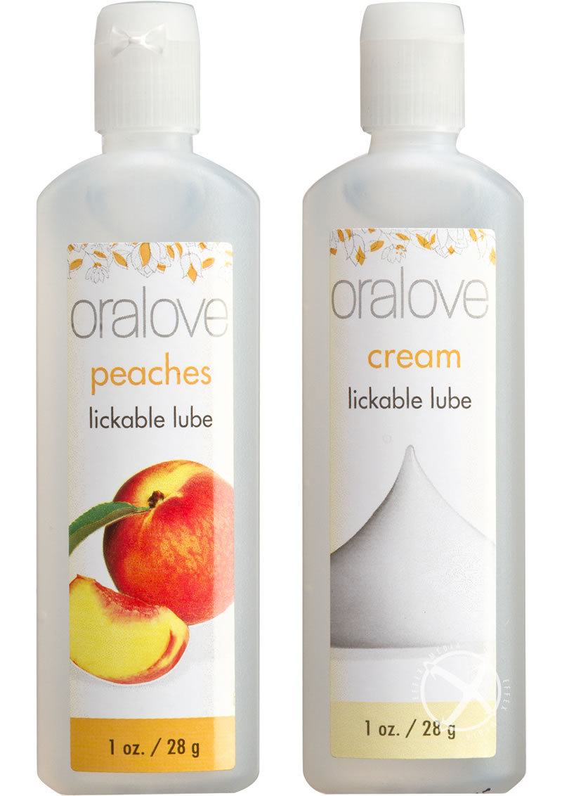 Oralove Delicious Duo Lickable Peaches And Cream Lubricant 1oz (2 Per Set)
