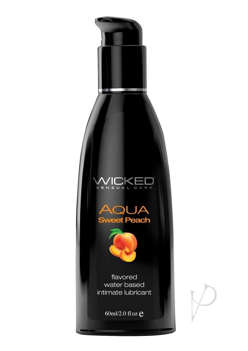 Wicked Aqua Water Based Flavored Lubricant Sweet Peach 2 Oz
